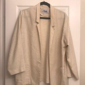Vintage cream linen textured blazer